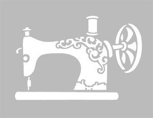Pochoir Adhésif Home Déco 13 x 9 cm MACHINE A COUDRE ANCIENNE - fdp gratuits