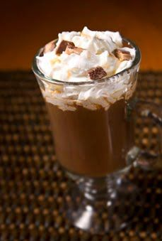 CARAMEL O'CLOCK COFFEE:  1 Cup hot brewed Eight O'Clock Original Coffee 2 Tbsp Milk 1 Tbsp Caramel Syrup Whipped Cream Chocolate Toffees, chopped into small pieces