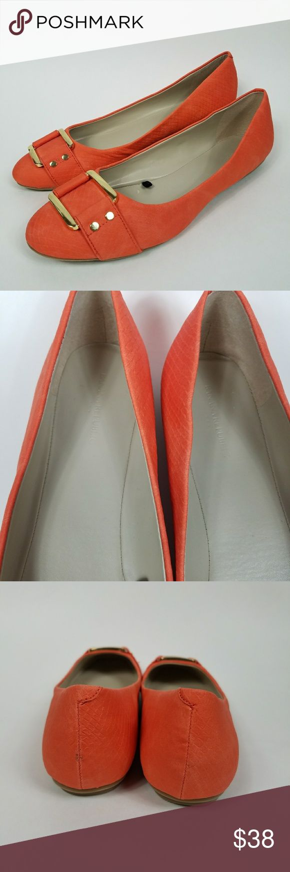 Banana republic orange ballet flat w/ gold buckle Orange Banana Republic leather flats with a snakeskin texture. Gold buckle detail. Excellent conditiin. New without tags/box. Women's size 10. Banana Republic Shoes Flats & Loafers