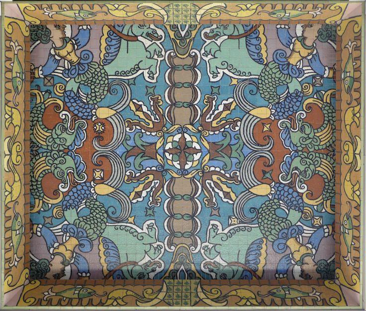 "Atlântico Palace, Oporto, 1950. Jorge Barradas, the interior of the porticoed gallery (photo: Ana Almeida)   Ana Almeida. ""Architecture, ceramics and frames. Three case studies in the work of Jorge Barradas,"" in ARTisON - AzLab#14 Azulejos and Frames. Proceedings. 2 (2016), p. 88-99. URL: http://artison.letras.ulisboa.pt/index.php/ao/article/view/38"