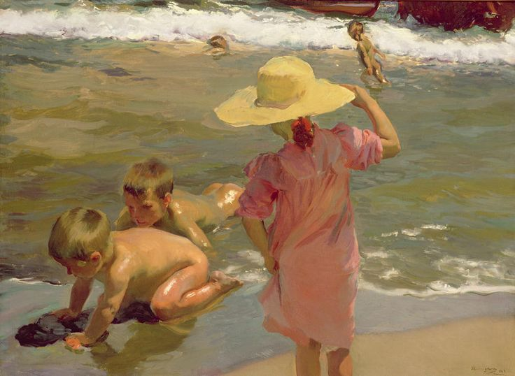 Children on the seashore Painting by Sorolla - Children on the seashore Fine Art Print