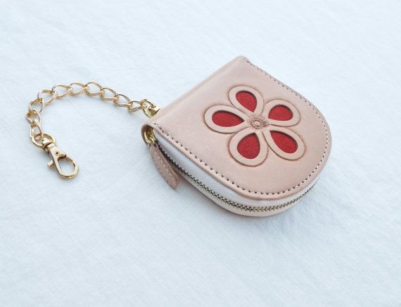 Hand Tooled Natural Leather Coin Purse with by FremontArtisan, $40.00
