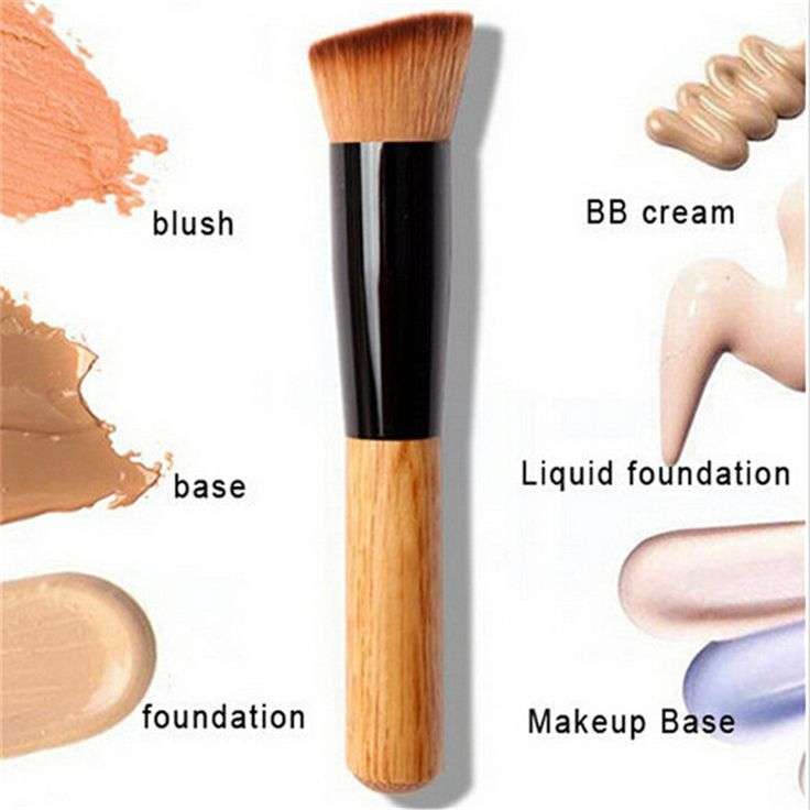 Feitong Professional Full Featured Foundation Makeup Brush Cream Flat Top Buffing Brush Cosmetic Makeup Basic Tool Wooden Handle aliexpress.com