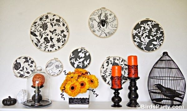 How To Create a Halloween Backdrop Using Embroidery Hoops and Fabric! by Bird's Party