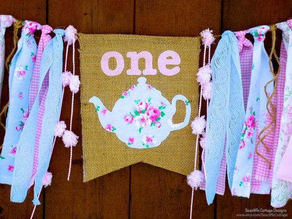 Tea Party Birthday Banner High Chair Highchair Pink and Blue Burlap and Lace ONEderland Wonderland Theme Shabby Chic Birthday Party Decor First
