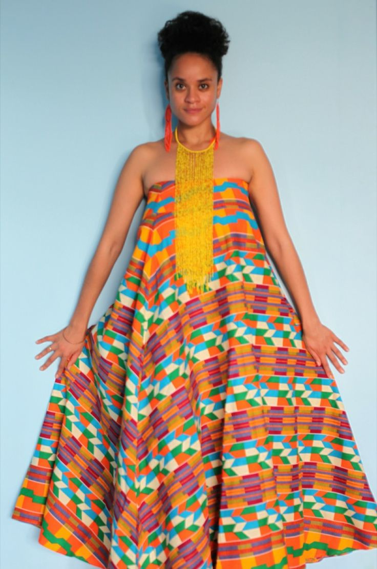 Printed boob tube dress. #africanprint #yellowbeads