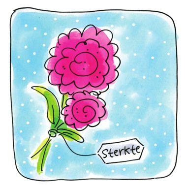Twee roze bloemen met een kaartje er aan- Greetz