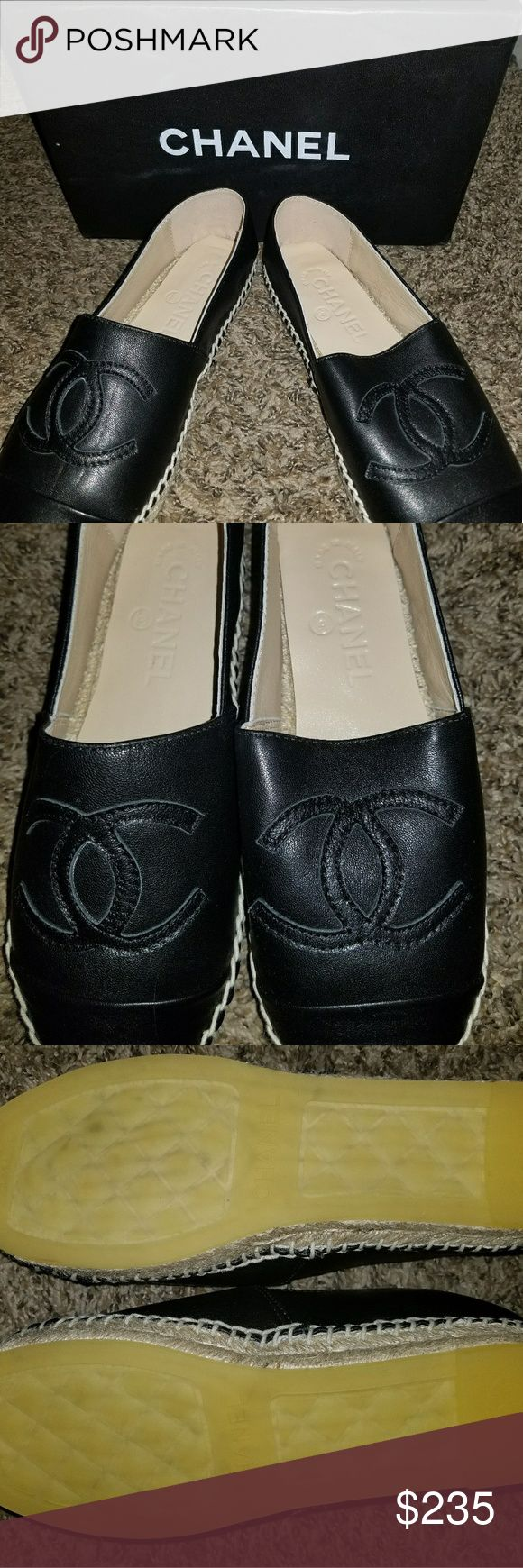 Chanel Slip Ons!! Espardilles!! BRAND NEW These are BRAND NEW!!! These slip ons were a gift and unfortunately do not fit me. I am not certain that these are AUTH, so price reflects uncertainty. These are super comfy and looking to be worn! CHANEL Shoes