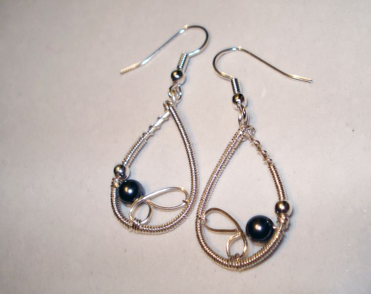 Wire Wrapped Earrings with Swarovski Pearl by IALINA