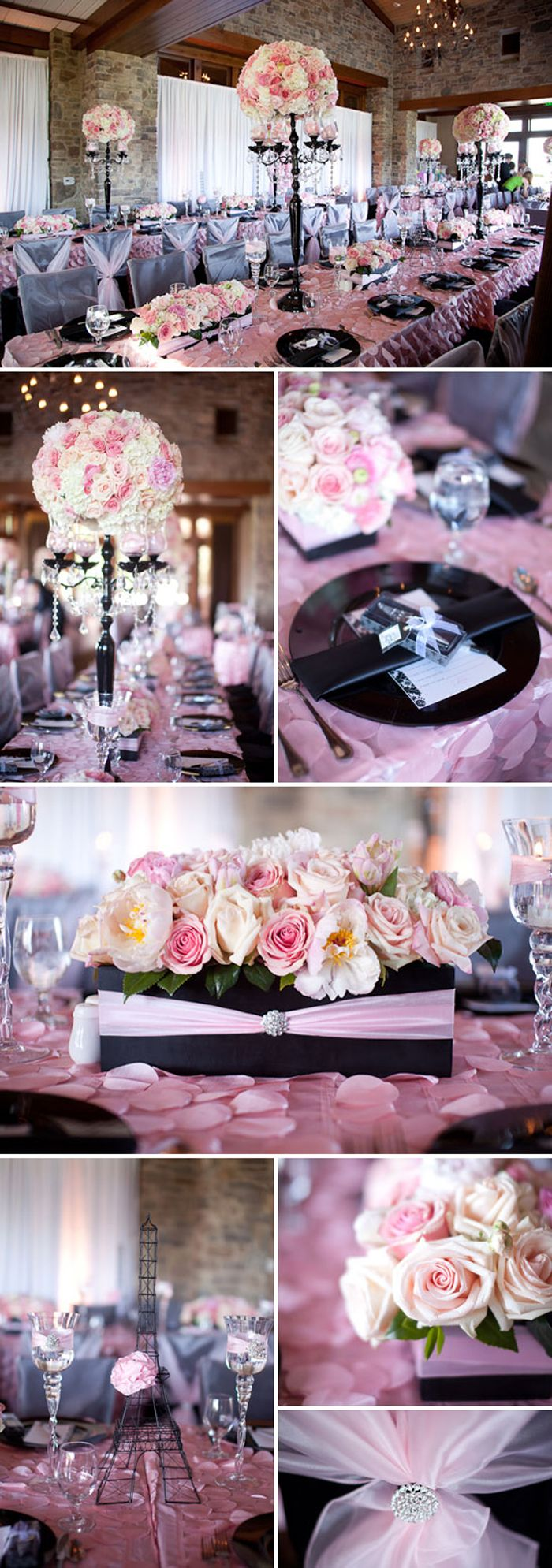 Paris-themed baby shower from Celebrate on Pretty My Party #babygirl #babyshower #paris #black #pink #shower #prettymyparty #table #tablesetting #eiffeltower