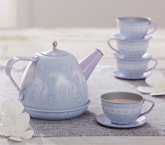 Unicorn Mini Tin Tea Set | Pottery Barn Kids--Ainsley