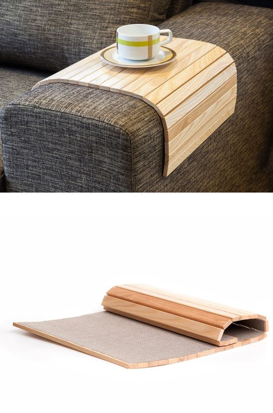 LipLap sofa arm table - rolls up and drapes over any sofa arm! Clever! #product_design It match with the chair I saw