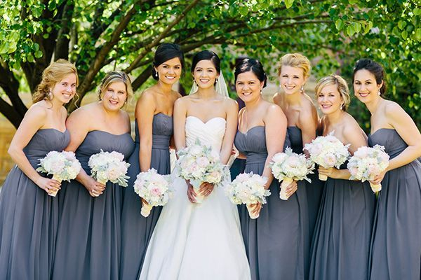 Pewter-colored chiffon bridesmaid dresses | Photo by Perry Vaile