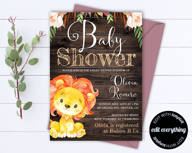 Rustic Baby Shower Invitation Template - Girl Baby Shower Invite - Lion Baby Shower Template - Rustic Baby Girl Shower invitation by MintedMemories on Etsy