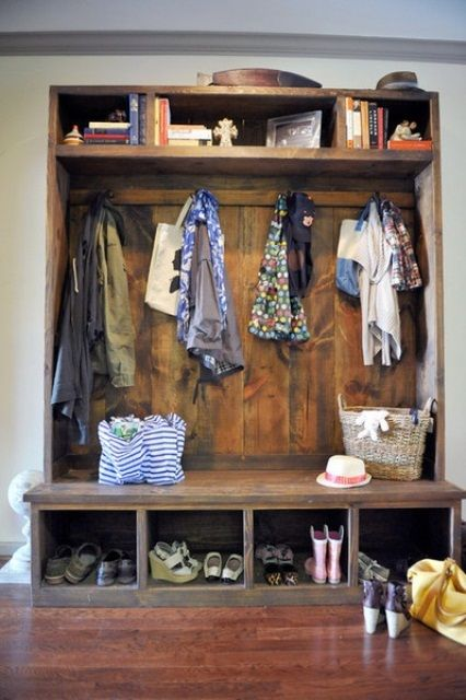 Wonderful 63 Clever Hallway Storage Ideas : 63 Clever Hallway Storage Ideas With White Wall Wooden Storage Wardrobe Jacket Shoes Hardwood Floor