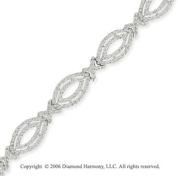 14k White Gold Oval 3.00 Carat Diamond Fashion Bracelet -> Description: These exquisite bracelet features ovals iide ovals all covered in more than 400 diamonds. You will look glorious in this 14k White Gold Oval 3.00 Carat Diamond Fashion Bracelet. -> sku=BR7624 -> Price $4215.00