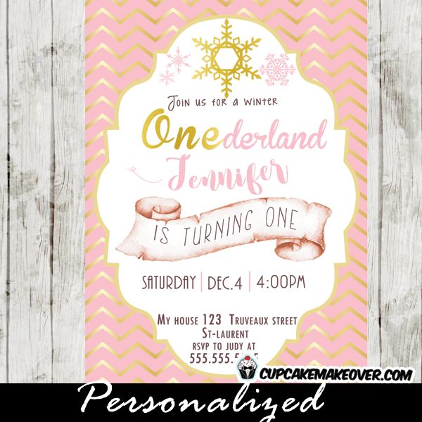 celebrate your little girls first birthday with winter onederland party invitations featuring beautiful snowflakes against a - Winter Onederland Party Invitations