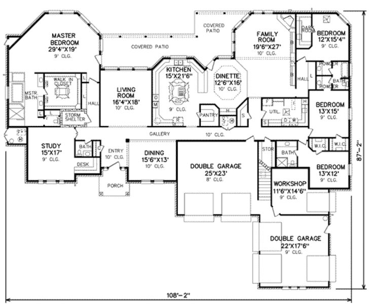 Traditional Style House Plan - 4 Beds 3.5 Baths 4500 Sq/Ft Plan #65-243 Floor Plan - Main Floor Plan - Houseplans.com