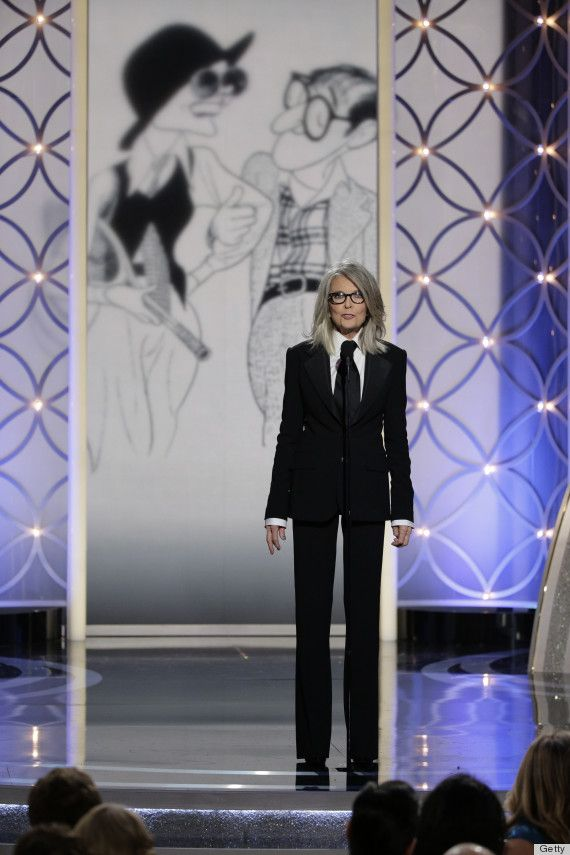 Diane Keaton Golden Globes 2014 suit. She actually accepted award for Woody Allen, I disagree