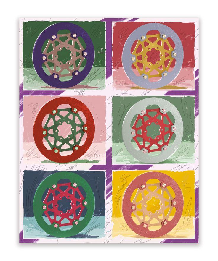 """#TheArtOfBraking, #illustration inspired by #AndyWarhol #PopArt #AnnualReport  Una delle illustrazioni realizzate per il bilancio Brembo """"Designing the Future"""" ispirate all'arte del Novecento. Dischi Moto GP raffigurati in stile Andy Warhol - PopArt"""