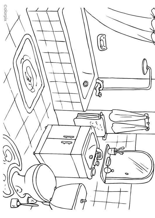 Kleurplaat badkamer - Afb 25994.