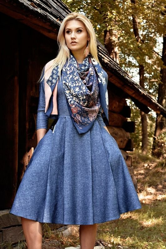 sukienki-Sukienka ZUZA Midi Denim