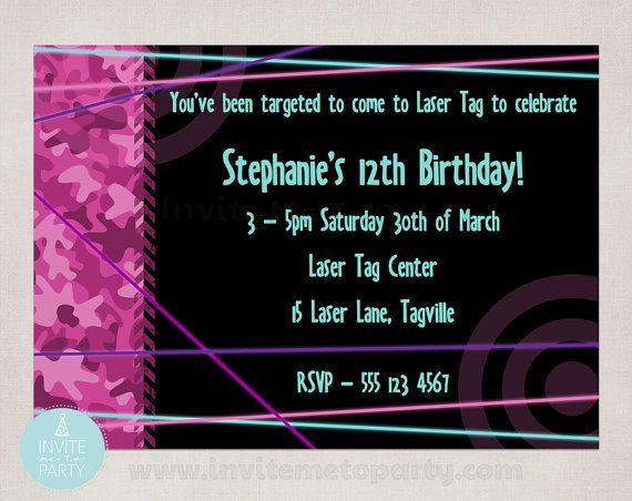 Laser Tag Party Invitation by InviteMe2Party on Etsy, $12.00