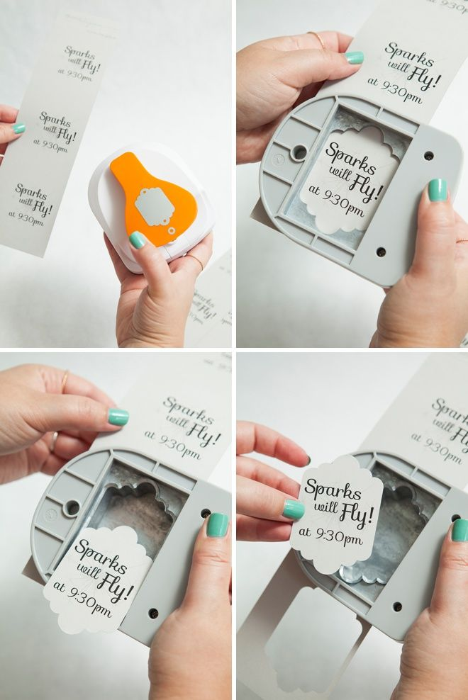 Awesome DIY idea for making wedding sparkler exit tags, using a @fiskars_hq punch and our free editable tag design!