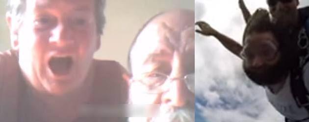 Het filmpje van de dag komt vandaag uit Sydney. Gekke Australiërs. Zoon lief, met baard, skypt met zijn ouders tijdens het skydiven. Oudere mensen