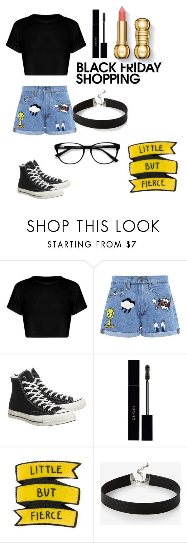 """""""Black Friday"""" by vintagebabii ❤ liked on Polyvore featuring Paul & Joe Sister, Converse, Gucci, Express and EyeBuyDirect.com"""