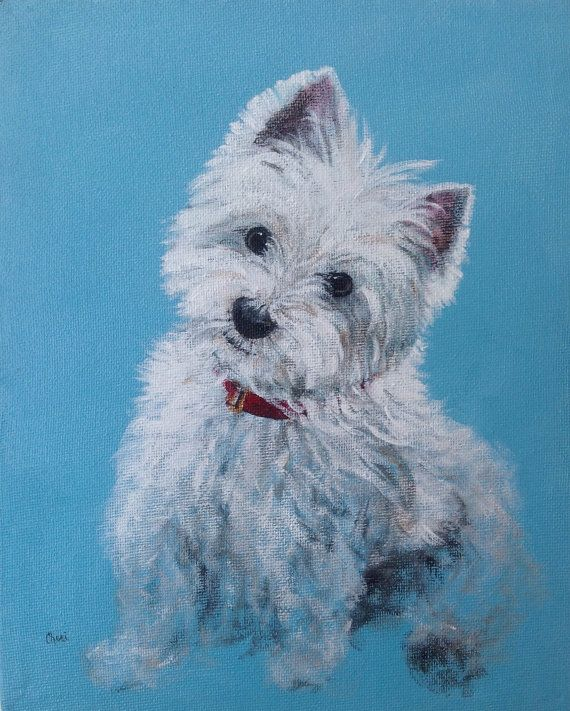 Westie Dog Portrait West Highland Terrier Print by CheriMillerArt