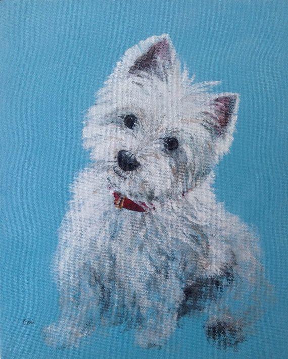 Westie Dog Portrait West Highland Terrier Print by CheriMillerArt