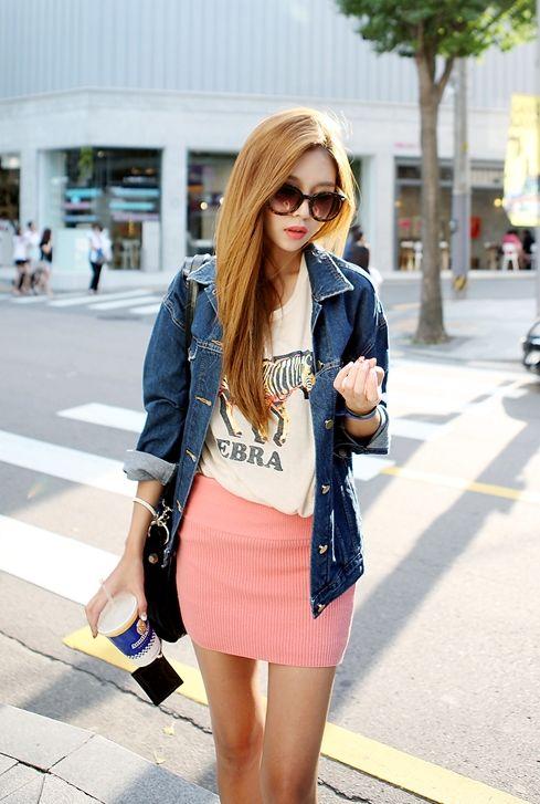 ♥ GG's tiny times ♥ Korean fashion# white t with pink mini skirt+ denim jacket# kpop fashion # street style