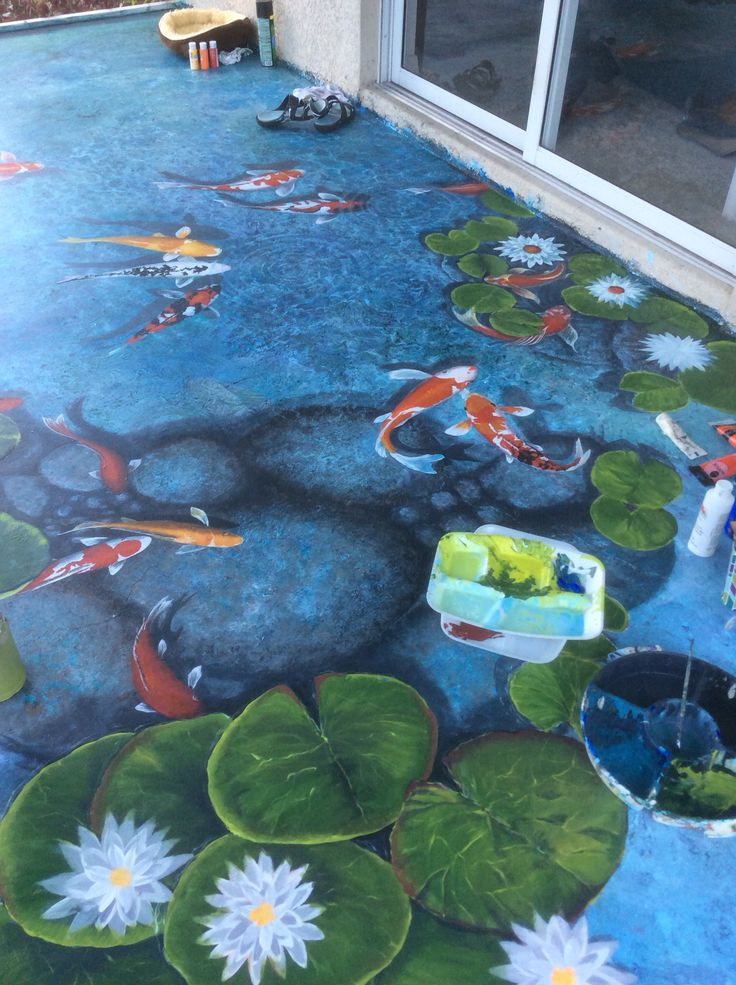 17 best images about trompe l 39 oeil on pinterest gardens for Koi pond art