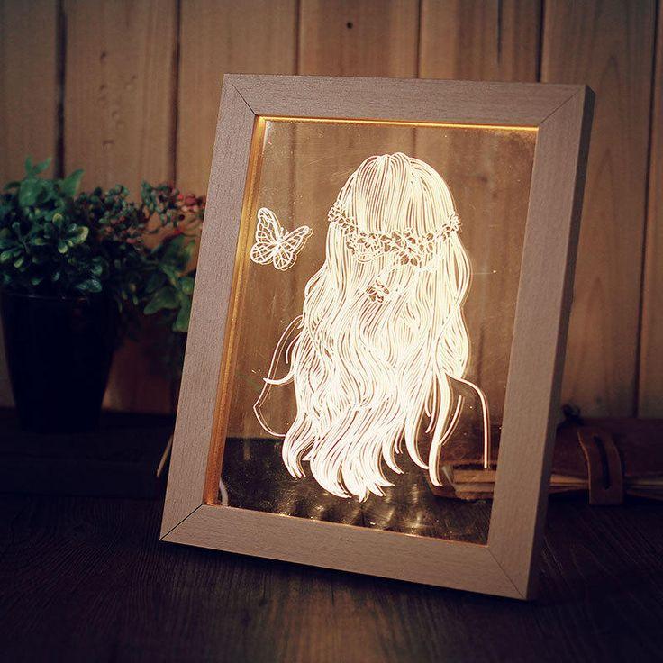 KCASA FL-716 3D Photo Frame Illuminative LED Night Light Wooden Girl Desktop Decorative USB Lamp For Bedroom Art Decor Christmas Gifts - Banggood Mobile