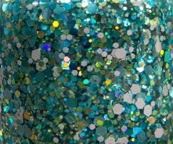 Frogs in a Pond glitter nail polish by Hollish 5-free indie nail lacquer, hand-made in South Australia, green, teal, blue, grey matte, holo, holographic, hex, square, dot, sparkle
