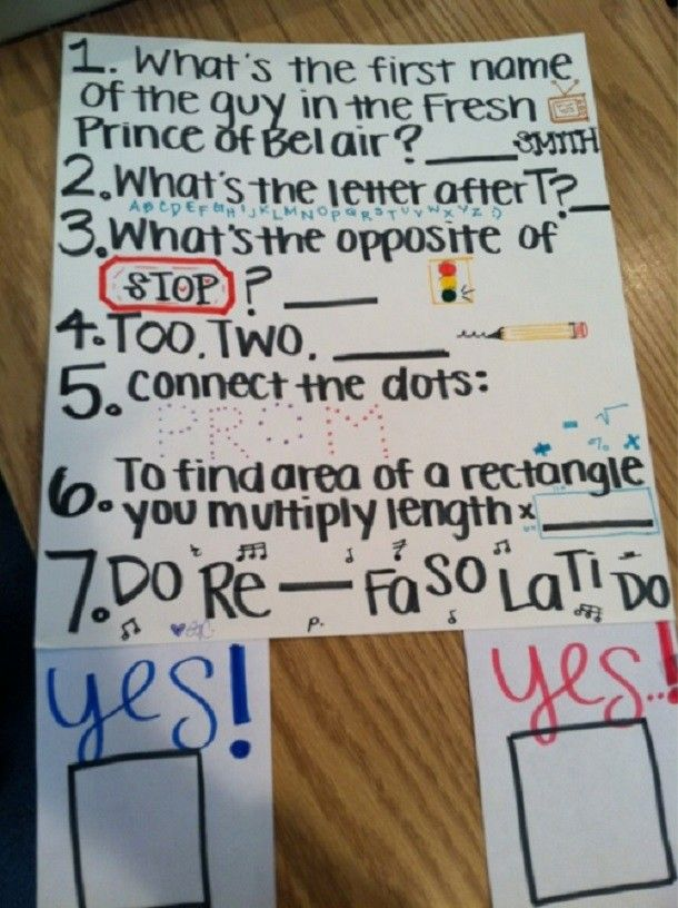 25 Bizarre Prom Proposals That Actually Happened: It might look like an elementary letters and numbers test on first glance but this prom proposal is pure clever