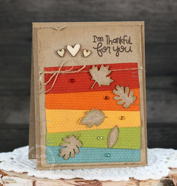 Card by PS DT Laurie Schmidlin Patterns 1, Jive Turkey, Leaves 1 dies
