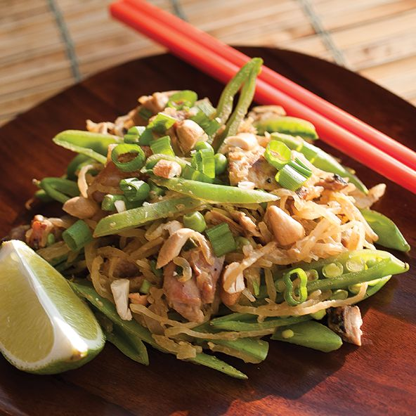 Sometimes you just want a pile of something spicy-creamy-comforting... like Pad Thai. But the original dish includes rice noodles (fail), soy sauce (fail), peanuts (fail), and sugar (fail). To make it safe for dino-chow consumption, I replaced the noodles with spaghetti squash, used coconut aminos instead of soy, recruited Sunbutter sauce as a stand in for the peanuts, and added snap peas for sweetness that also bumped up the veggie count. THIS is Pad Thai you can feel good about emotionally…