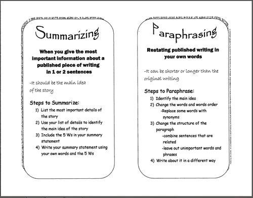 paraphrasing practice worksheets Termolak – Paraphrasing Worksheet
