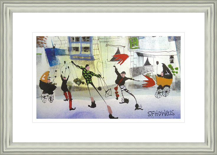 'The Rain Dance' by Sue Howells.  High Quality Reproduction Framed Print finished with glass panel & expertly framed by Spires Art framing team. Size: 14in X 18in