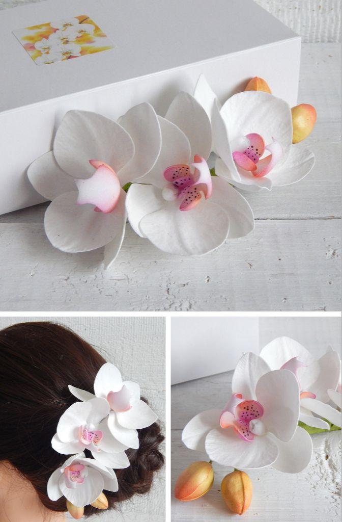 Orchid Flower Hair Clip Tropical Wedding Headpiece Hawaiian Etsy Flowers In Hair Orchid Flower Flower Clip