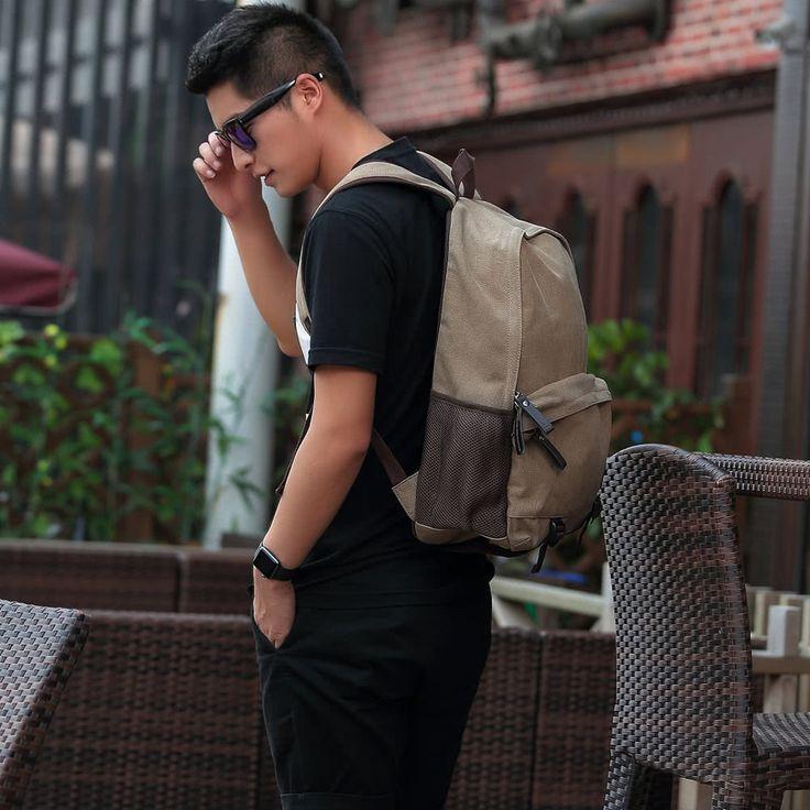 New Fashion Men Canvas Backpack Zipper Casual School Bag Sales Online camel - Tomtop.com