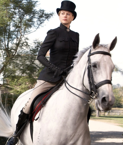 Picture of Nicole Kidman -- well, it would be sidesaddle, but pretend.