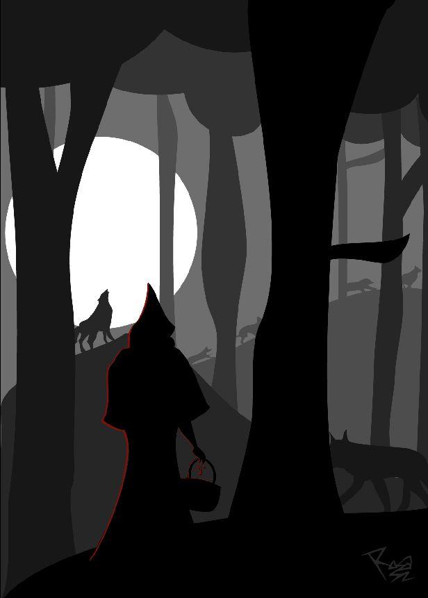"Illustration for ""Of how Caperucita ate her grandmother"", a story by María Cristina Salvans for Surcando Ediciona Ezine"