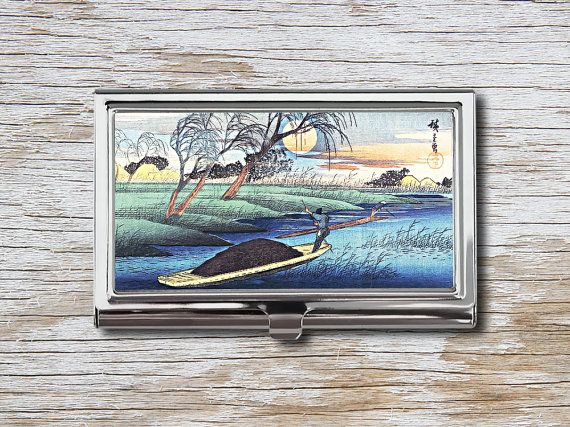 Japanese Landscape Business Card Case - Vintage Japanese Print - Japanese Art - Card Holder