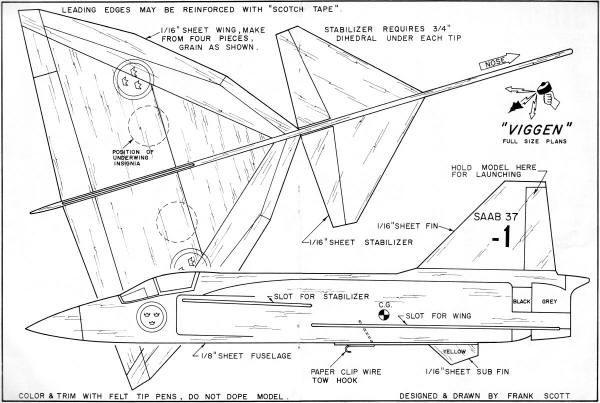 viggen catapult laungh glider plans