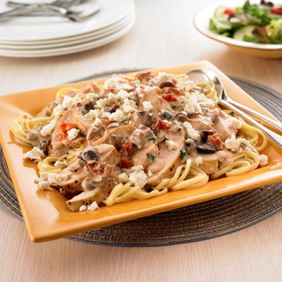Mediterranean Pasta: A creamy sauce tops pasta and seasoned chicken breasts in this Greek-inspired dish. Easy and very good. Will make again. -P | Pasta Rec…