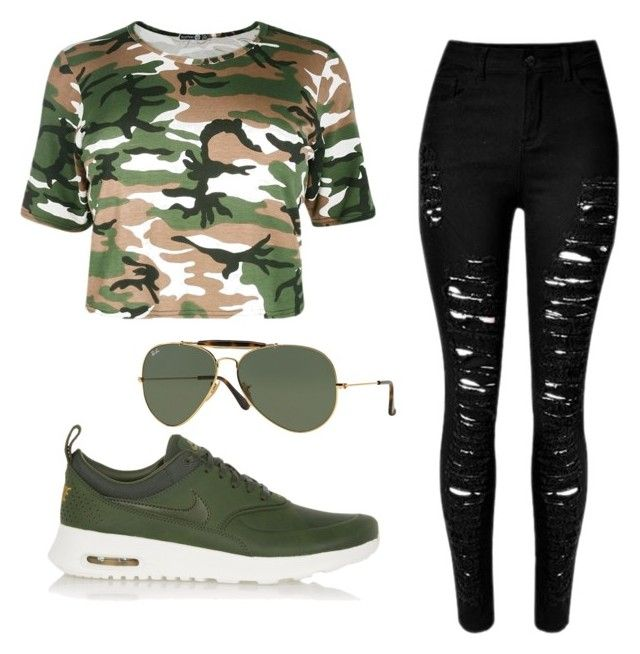"""""""#style #moda #spring #rayban #camuflaje #nike #women #verde #militar #negro #perfectday #modelito #top #100 #pinterest #facebook #tumblr #twitter #fashion #polyvore #android"""" by paula-rentero on Polyvore featuring NIKE and Ray-Ban"""