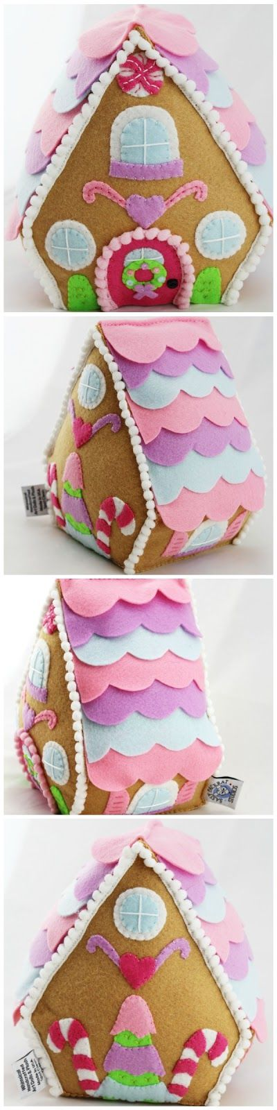 The Sassy Pack Rat: Felt Gingerbread House Finished. Click thru and see how I made this!
